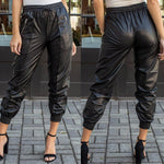 Streetwear Solid Color Black Leather Cargo Pants Trousers with Zippered pockets for Women