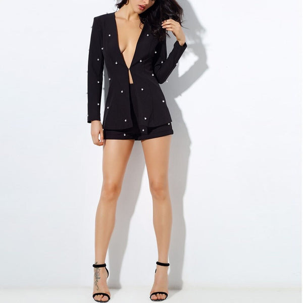 Fashion pearl beaded long-sleeved blazer and shorts 2 pieces set for Women sexy party suit