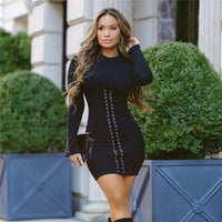 Women's Winter Sexy Casual Mini Knitted Dress with Long Sleeves