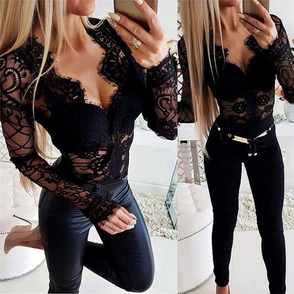 2020 Black lace Jumper Women s Top Elegant Long Sleeves Sexy V Neck Top Autumn Spring