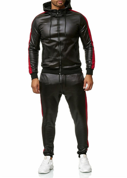 Stylish Tracksuit Leather Jacket Top and Pants Trousers For Men Autumn and Winter