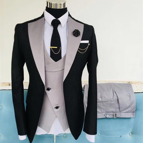 Grey pink with black wedding suit for Men slim fit groom 3 piece set Men's Blazer