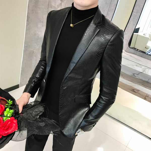 Men's Leather Jacket Business Fashion High Quality Leather Blazer Suit