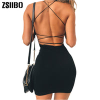 2020 Women Sexy Bodycon Summer Party Dress Backless Clubwear Mini Dress low neck