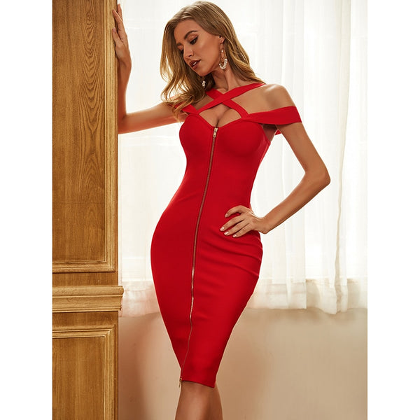 Women's Sexy Designer Red Bandage Summer Dress with Zipper