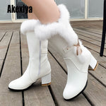2020 new winter long women's boots waterproof leather boots Metal decoration  round Toe fur high heels size 34-43 k663