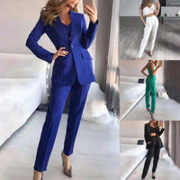 3Pieces Set Women Blazer Suit Crop Top and Pants Summer Single Button Turndown Collar Office Lady Outfit
