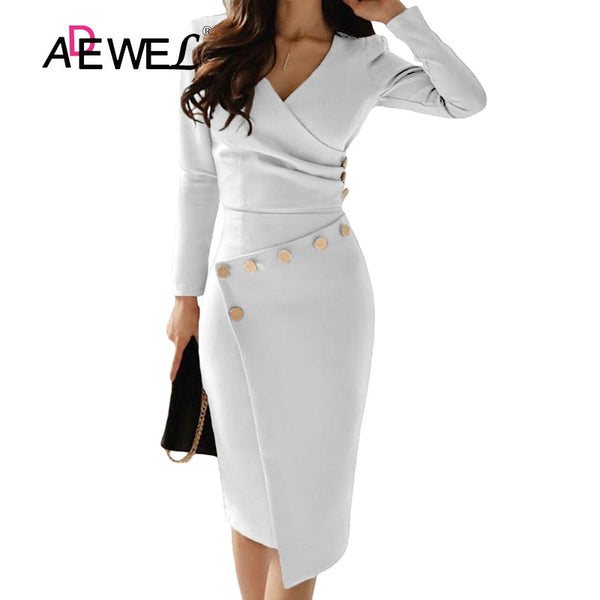 ADEWEL Casual White Bodycon Pencil Office Dress Women's Long Sleeve V-Nec Asymmetrically Dress Autumn and Winter