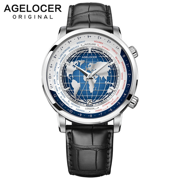 Swiss Brand Designer Men's Watch with World Time Date Power Reserve 80 Hours Self-winding Mechanical Automatic Watches