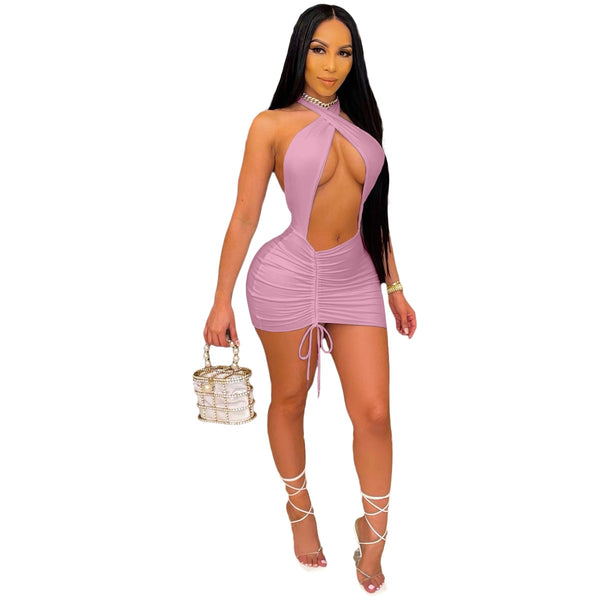 Sexy Women Party Dress Backless Bodycon Drawstring Summer Mini Dress