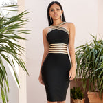 New Summer Halter Lace Bandage Dress for Women Sexy Hollow Out Bodycon celebrity Party Dress