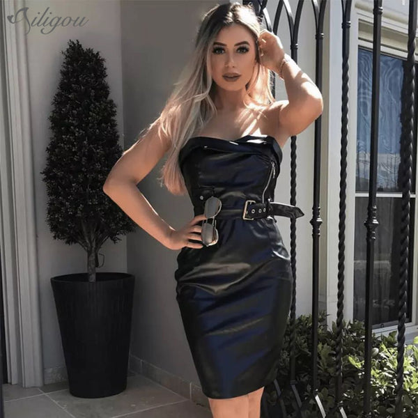 Women's Pu Leather Sexy Strapless Party Dress with Decorative Belt for Summer and Winter
