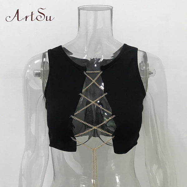 ArtSu Chain Lace Up Sleeveless Knit Top Sexy Clubwear Tank Tops Tees Camisole Women Red Crop Top Streetwear ASVE20315