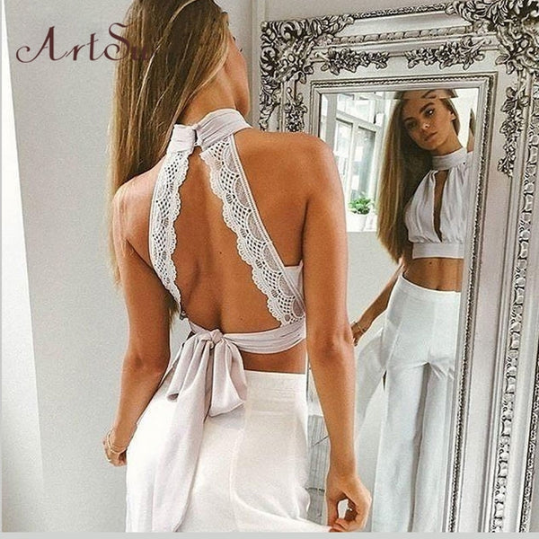 ArtSu Summer Sexy Backless Women Tanks Lace Chiffion Tank Crop Top Girls Halter Bustier Tops Bow Camis Clothing ASVE30006