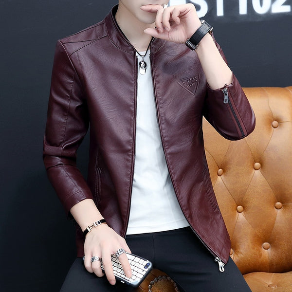 Autumn Summer Leather Jacket for Men Korean Style Slim Fit Long Sleeves Jacket