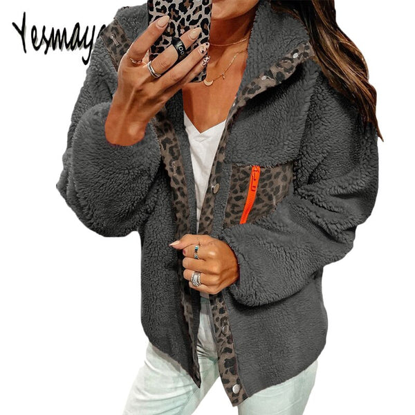 Autumn Winter Jacket Women Fashion Leopard Patchwork Tops Velvet Sexy Coat Chaqueta Mujer 2019 Turn Down Collar Jacket Parka