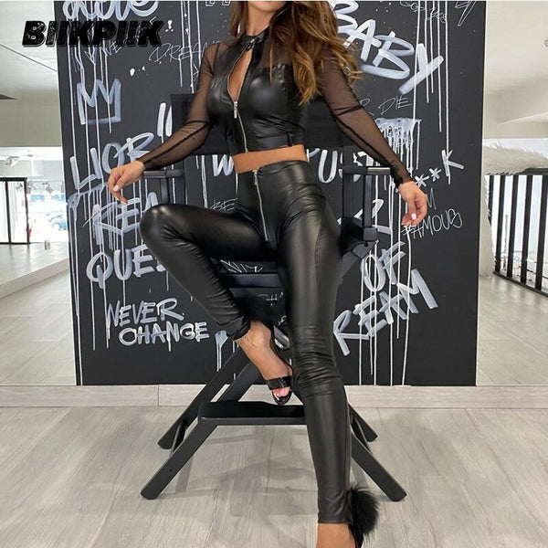 Patchwork Mesh Leather Crop Top and Pants Trousers Two Pieces Set for Women
