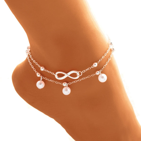 BOHO Cute Letter Infinity Love Anklet & Bracelet Imitation Pearl Multilayer Chain Ankle Braclet for Women Summer Beach Jewelry