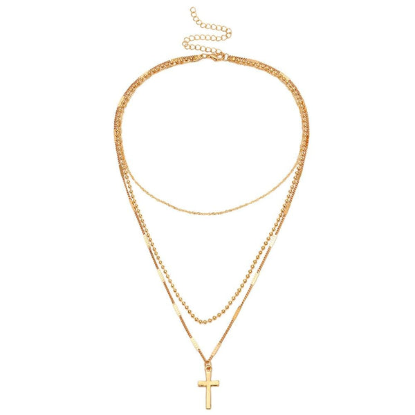 Banny Pink God Blessed You Choker Necklace For Women Religious Cross Pendant Choker Collar Multi Clavicle Chain Choker Collar