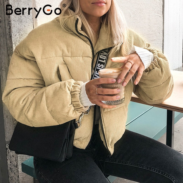 BerryGo Casual corduroy thick parka overcoat Winter warm fashion outerwear coats Women oversize streetwear jacket coat female