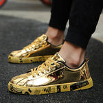 Big Size Men Shoes Brand Summer Flats Men Casual Shoes Lace Up Mens Trainers Golden Fashion Lovers  Zapatillas Deportivas Hombre