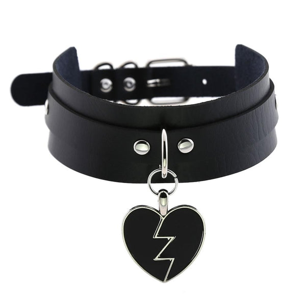 Black Punk Heart Choker Collar Goth fashion necklaces 2019 kawaii Leather Choker Women Girls  Rock  Harajuku Emo Gothic Jewelry