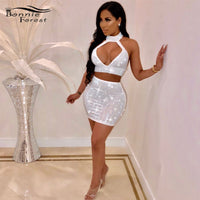 Sparkle Crystal Embellished Skirt Set Two Piece Sexy Sleeveless Rhinestone Crop Top and Skirt for Women