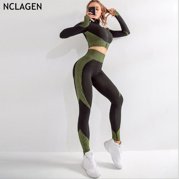 Sport Suit Women's Running Tracksuit Leggings 2 Pieces Set plus Crop Top