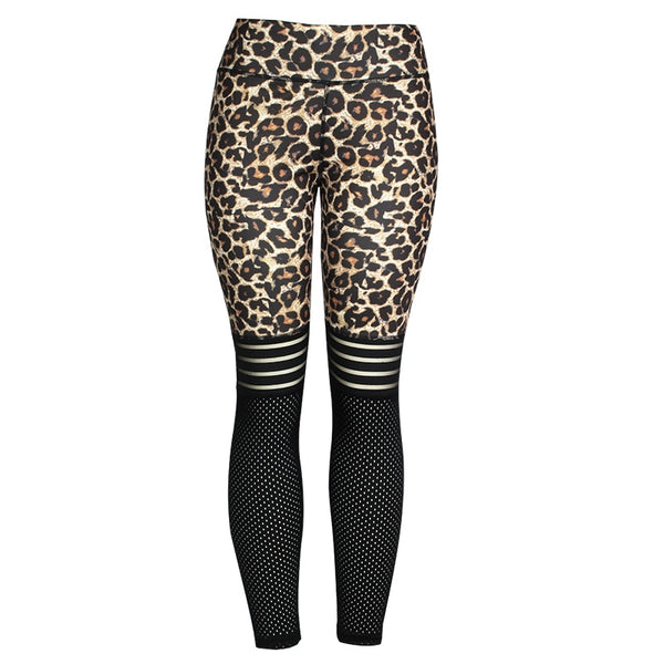 CHRLEISURE Leggings Women Leopard Legging Activewear Women Mesh Patchwork Fitness for Jegging High Waist Workout Leggings