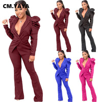 Two Pieces Set Long Sleeve Blazer Lantern Suit + Flare Wide Leg Pants Office Outfit for Women