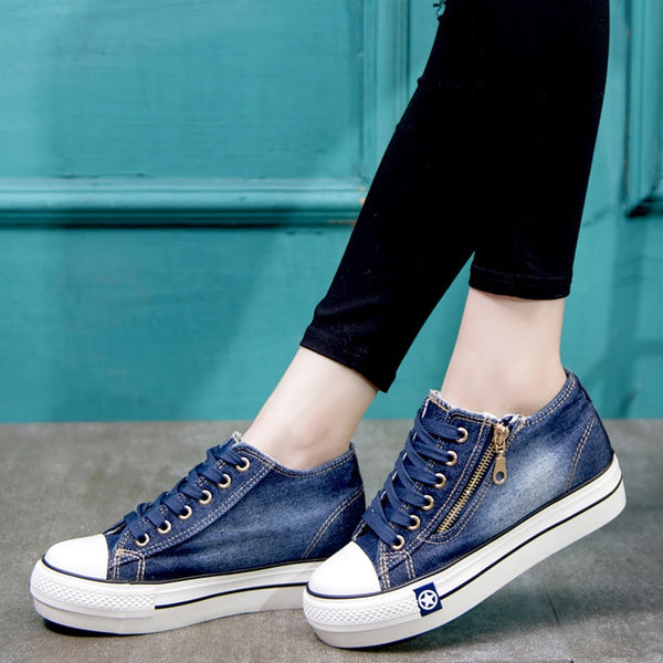 Canvas shoes for girls 2019 Spring Fashion Sneakers Solid Sewing Women Denim Shoe Sapato Feminino Size 35-41
