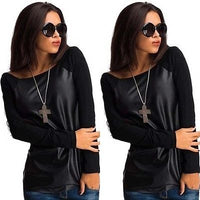 New Women's Sexy Jumper Long Sleeves Top Leather Casual Blouse T Shirt