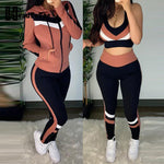 Colorblock Crop Top & High Waist Pants Trousers & Hooded Jacket for Women 3 Pieces Set Tracksuit