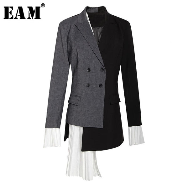 [EAM] 2019 New Autumn Summer Lapel Long Sleeve Gray Hit Color Pleated Irregular Split Joint Jacket Women Coat Fashion Tide YC9