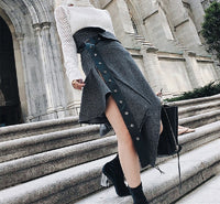 [EAM] 2019 New Spring High Waist Gray Irregular Hem Loose Pleated Pu Woolen Half-body Skirt Women Fashion Tide JK017