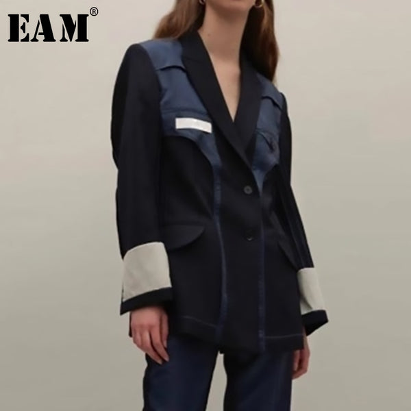 [EAM] 2019 New Spring Summer Lapel Long Sleeve Hit Color Split Joint Loose Personality Jacket Women Coat Fashion Tide JU179