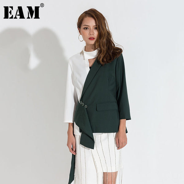 [EAM] 2019 Spring Summer Trendy New Hit Color Stitching Long Sleeve Turn-down Collar Coat Single Breasted Jacket Women JA4240