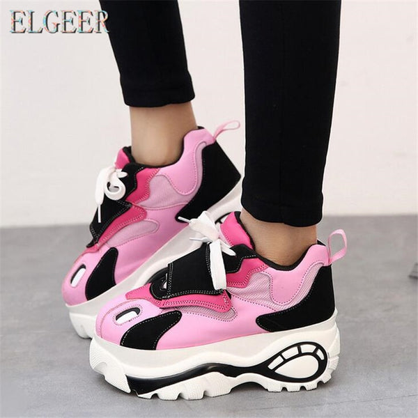 ELGEER Women Shoes Sneakers Flats Zapatillas Deportivas Woman Creepers Casual Shoes Increasing Heel Zapatos Mujer Flat Platform