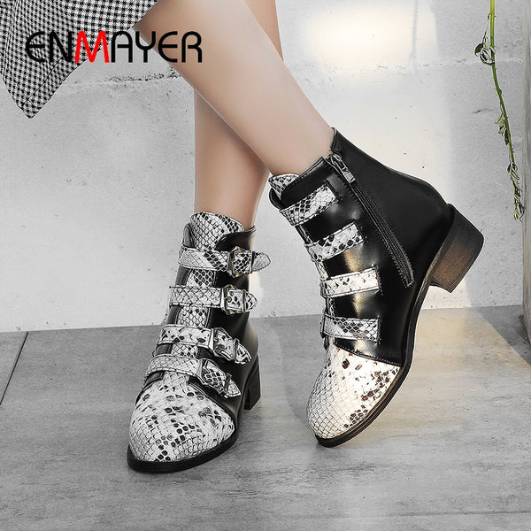 ENMAYER Round Toe PU Hoof Heels Winter Boots Women Zip Med Mixed Colors Short Plush Ankle Boots Buckle Snake Stripe White Shoes