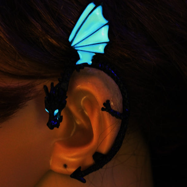 Earrings Dragon Ear Cuff glow Earrings GLOW in the DARK dragon Ear clip earings Stud Earrings WOMEN girls boys gift