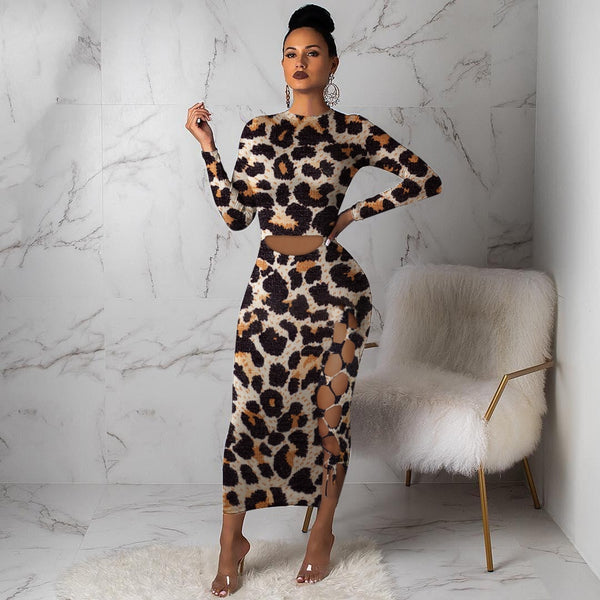 Echoine Long Sleeve Leopard Print Long Dress Women's Hollow Out Evening Party Dress Autumn winter