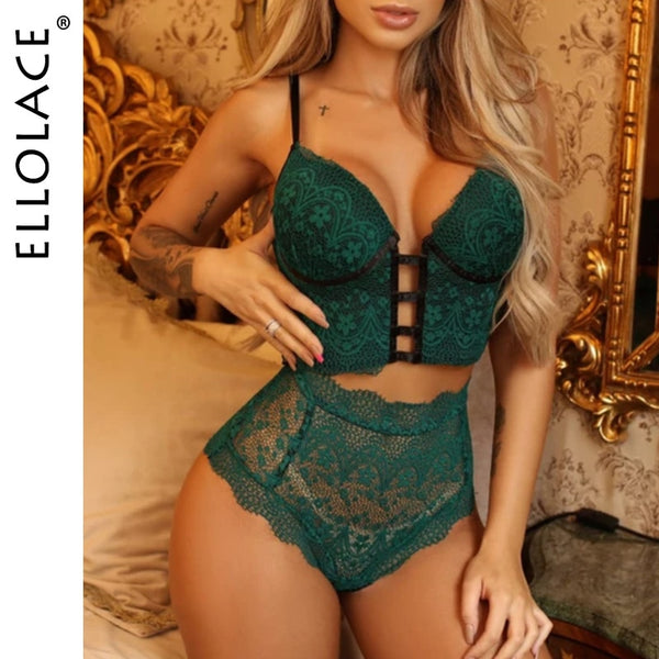 Ellolace Lingerie Set Sexy Women's Underwear Bra and Bandage Hight Waist Panties Bra Party Set Underwear women Lace Lingerie Set