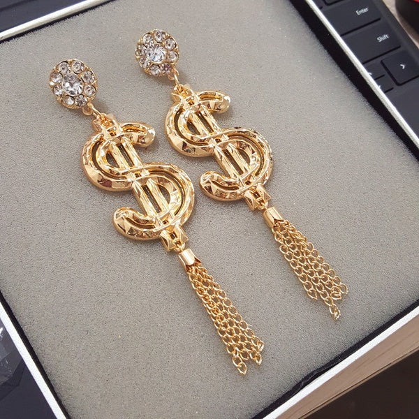 Dollar Symbol Long Tassel Earrings For Women Gold Drop Earrings Jewelry