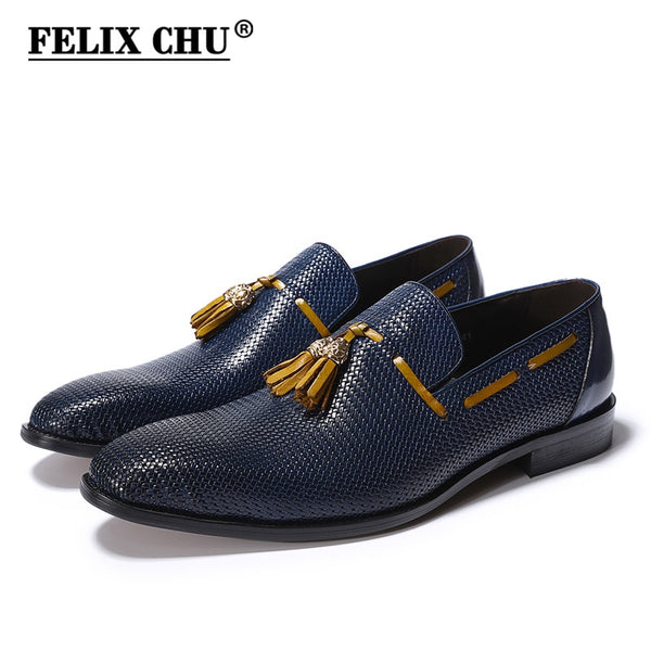 FELIX CHU Genuine Leather Men Wedding Party Blue Black Dress Shoes Slip On Pointed Toe Tassel Loafer Male Footwear Size 39-46