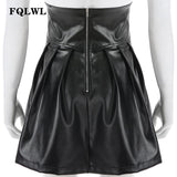 FQLWL Ruffles Lace Up Faux Pu Leather Skirts Womens High Waist Bandage Mini Skirt Black Short Pleated Club Sexy Skirt Female