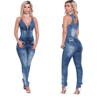 Denim Blue Jumpsuit Women V-neck Sleeveless Jeans Jumpsuit
