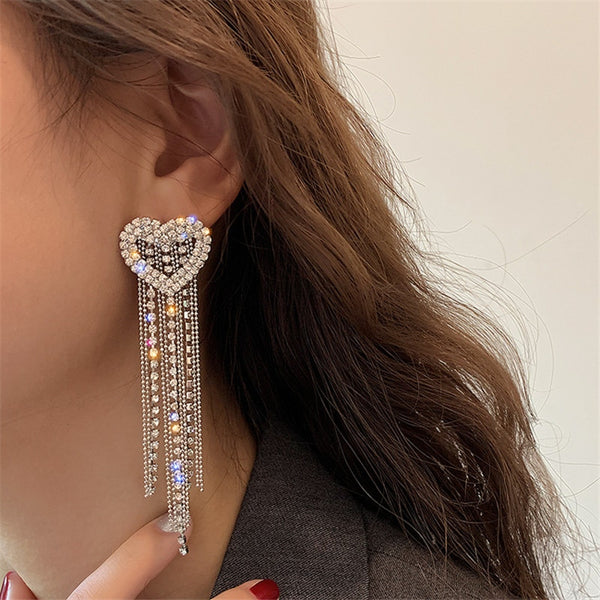 Love Heart Crystal Drop Earrings for Women Long Tassel Rhinestone Dangle Earrings Jewelry