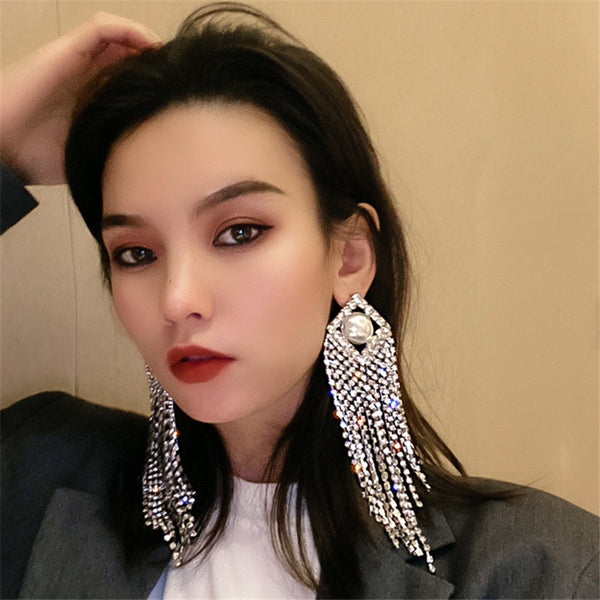 Shiny Long Tassel Crystal Drop Earrings for Women Rhinestone Jewelry