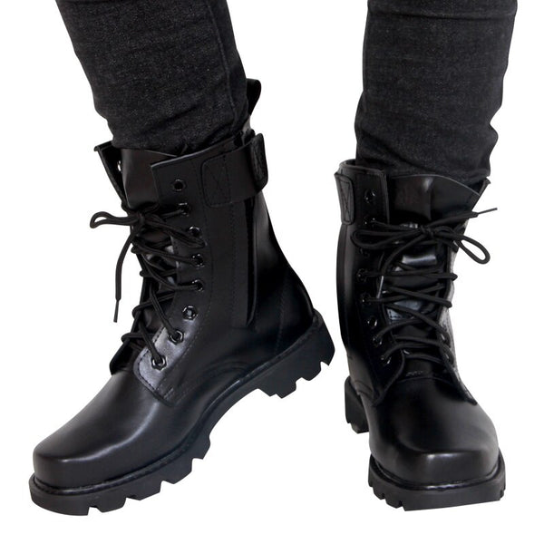 Fashion Army black leather Boots Men Military Boots Tactical Combat Boots Waterproof Summer/Winter Desert Boots Size 35-46