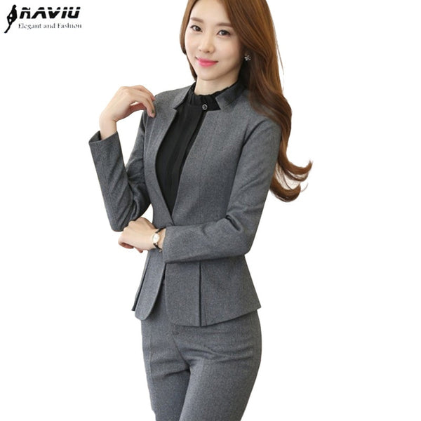 Fashion Business interview women pants suits plus size work wear office ladies long sleeve slim Formal blazer and pants set